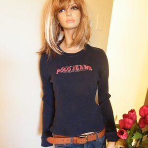 Ralph Lauren Polo Thermal Sweater Navy Graphic S M